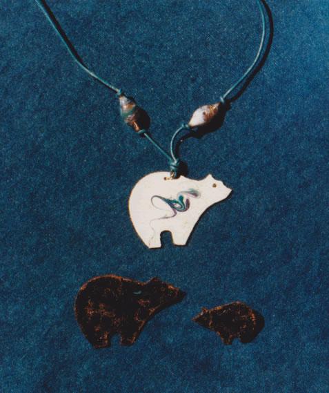 Copper Enamel Bear Pendant