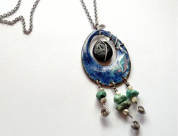 Copper Enamel Diffuser Pendant with Lava Stone